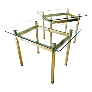 Mid Century Side Tables Brass and Glass, a Pair For Sale