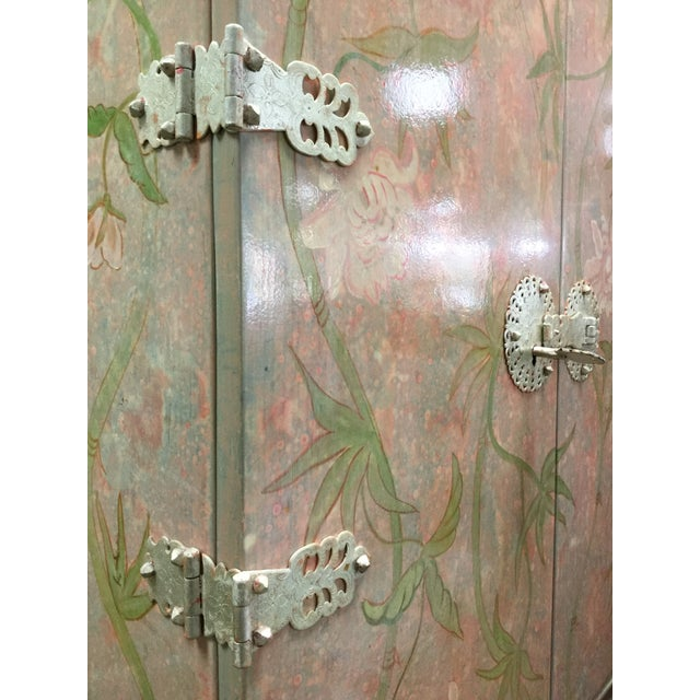 Pink Asian Style Floral Armoire For Sale - Image 8 of 8