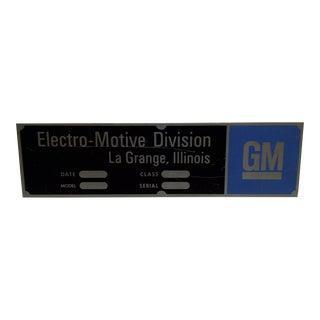"Vintage ""GM - Electro-Motive Division"" Metal Automobile Sign For Sale"