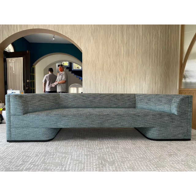 Featured in The 2020 San Francisco Decorator Showcase — Custom Shaped Teal Settee For Sale - Image 4 of 12