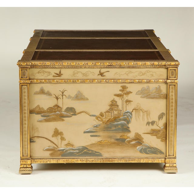 Chinoiserie Hand-Painted Parcel Gilt Partners Pedestal Desk For Sale - Image 10 of 12