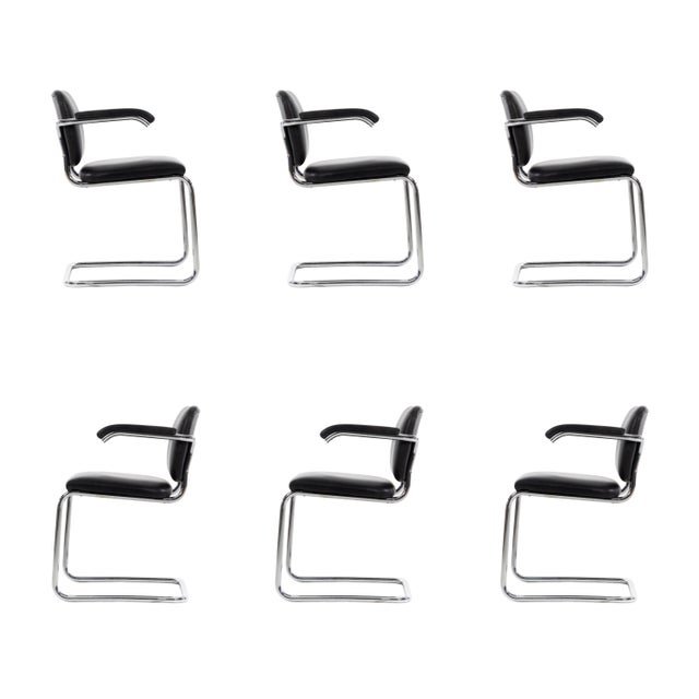 Breuer for Knoll Gavina, set of 12 Cesca dining chairs in chrome-plated steel with leather upholstery. Originally designed...