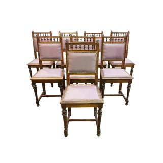 Handsome Set of Eight Jacobean Style Newly Upholstered in Purple Linen Oak Dining Chairs For Sale