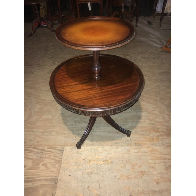 Vintage Leather Top 2 Tier Dumbwaiter Round Side Table - Image 3 of 10