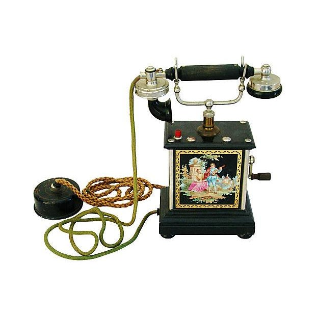 Antique French Hand-Painted Crank Handled Telephone - Image 9 of 10