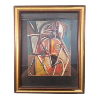 Vintage Mid-Century Cubist Portrait Painting For Sale