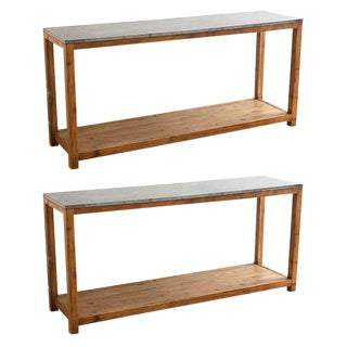 Pair of Natural Stone Top Pine Console Tables For Sale