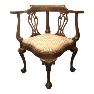 1920s Antique Victorian Chippendale Design Carved Mahogany Chair For Sale