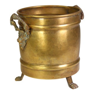 1950s Hollywood Regency Lion Footed Brass Cachepot / Planter with Handles For Sale