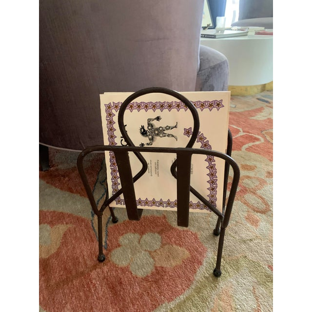 Jacques Adnet Leather Magazine Rack For Sale - Image 9 of 11