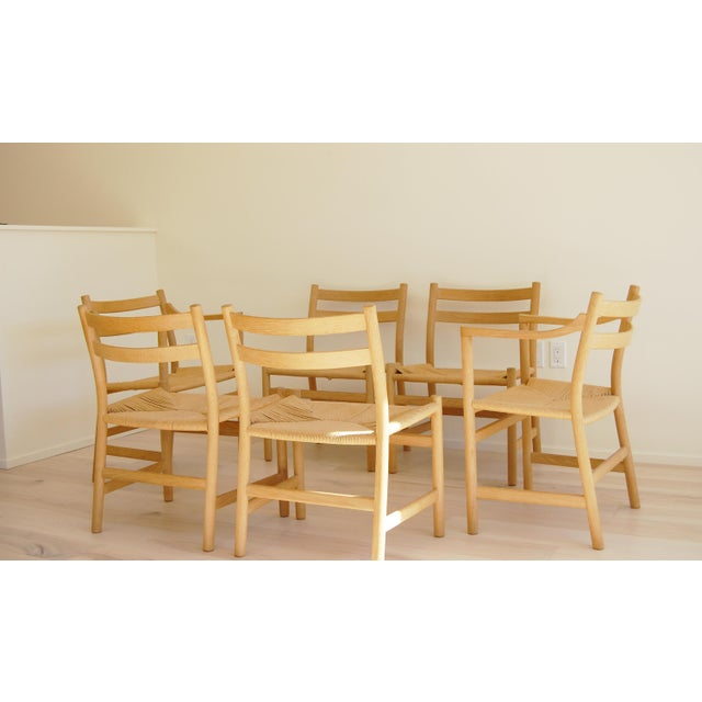 1965 Hans Wegner for Carl Hansen & Son Oak Dining Armchairs - Set of 6 For Sale - Image 12 of 13