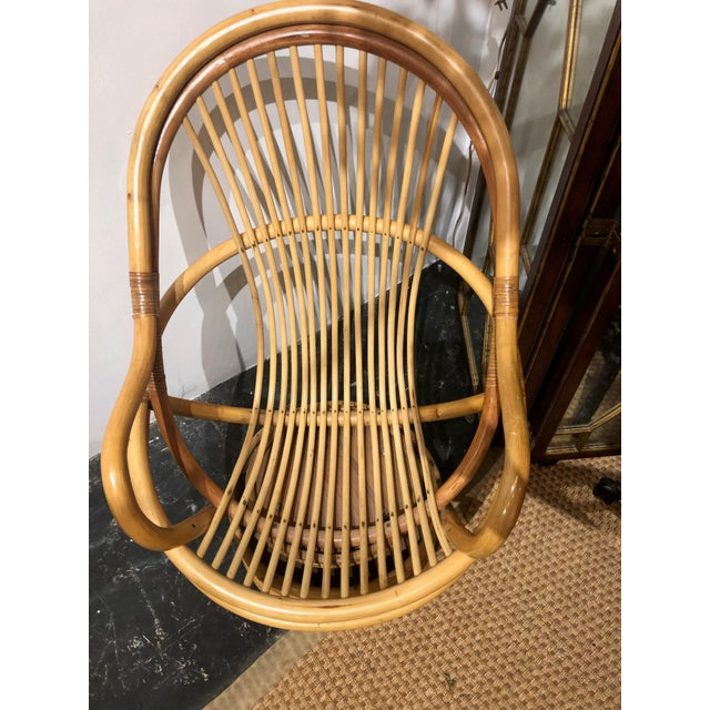 1980s Vintage Bamboo Swivel Chairs- a Pair For Sale - Image 11 of 13