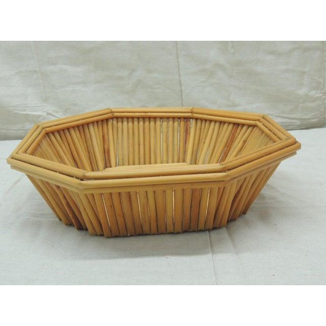 Boho Chic Hexagonal Vintage Bamboo Fruit Bowl or Serving Basket For Sale - Image 3 of 6