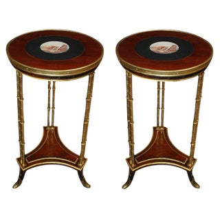 Pair of 18th C. French Neoclassical Micromosaic Gueridon Side Tables For Sale