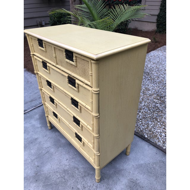 Stanley Furniture Stanley Yellow Faux Bamboo Dresser For Sale - Image 4 of 13
