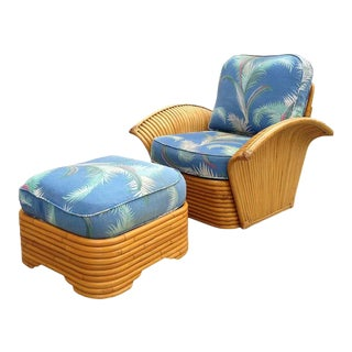 Restored Art Deco Rattan Fan Arm Lounge Chair With Ottoman For Sale