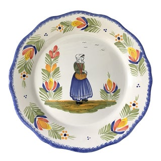 Vintage Henri Quimper Faience Bretonne Woman Charger For Sale