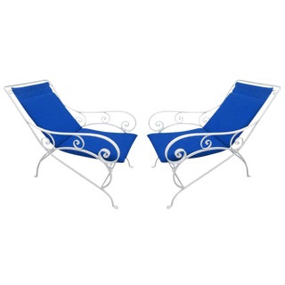Pair of Wrought Iron Lounge Chairs