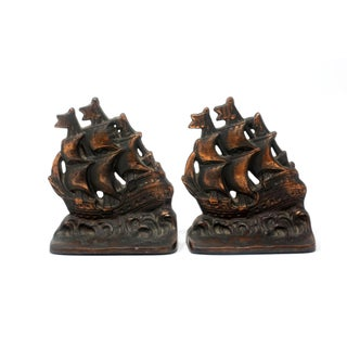 1940's Nautical Bronze Clipper Ship Bookends - a Pair Preview