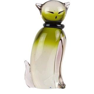 Salviati Barbini Murano Vintage Sommerso Green Italian Art Glass Kitty Cat Sculpture For Sale