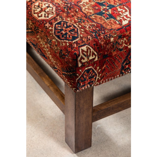 Wood Large Scale Ottoman Upholstered With a Vintage Rug Textile For Sale - Image 7 of 13