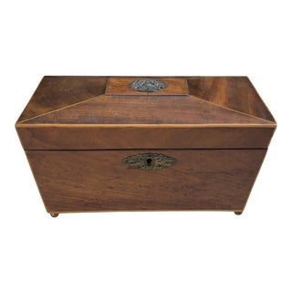 Early 19c Antique Casket Form Georgian Mahogany Tea Caddy Box For Sale
