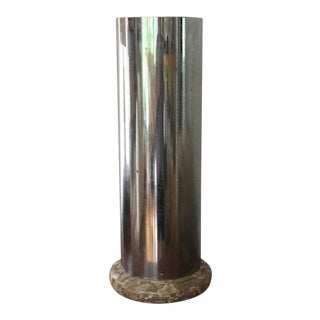 Chrome and Marble Umbrella Stand For Sale