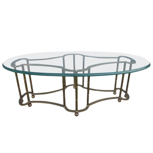 Mastercraft Brass Faux Bamboo Coffee Table For Sale