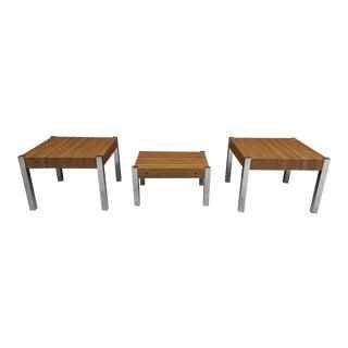 Vintage Modern Chrome & Faux Wood Tables - Set of 3 For Sale