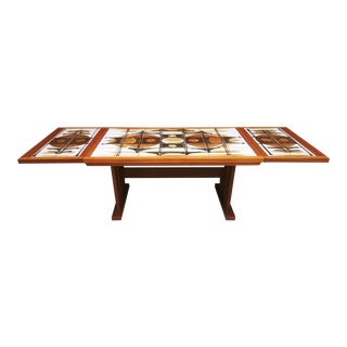 Danish Modern Gangso Mobler Tile Inlay Drop Leaf Dining Table For Sale