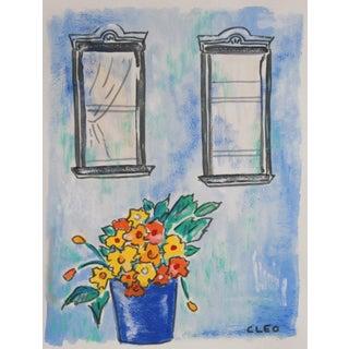 Brownstone Windows With Flowers Painting by Cleo For Sale