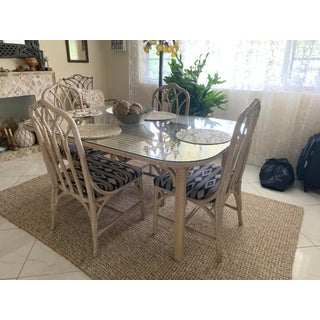 Vintage Boho Chic Whitewashed Rattan Dining Room Set - 5 Pieces Preview