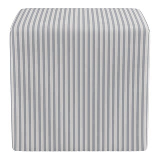 Cube Ottoman in Grey Fairfield Stripe For Sale