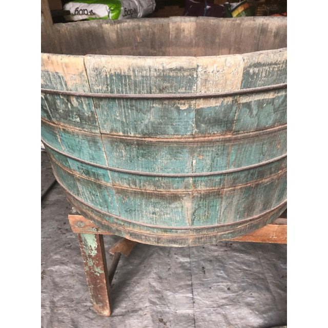 Distressed Country Washing Barrel Tub and Stand For Sale - Image 4 of 13