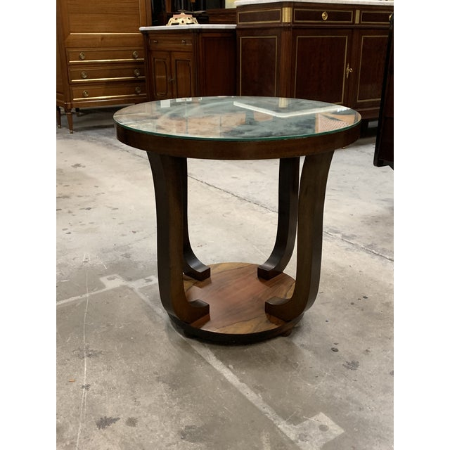 Brown 1940s Vintage French Art Deco ''Tulip'' Macassar Coffee Table or Side Table For Sale - Image 8 of 13