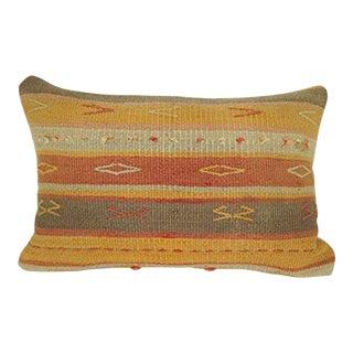 Striped Unique Designer Kilim Pillow Cover Multi Color Woven Kelim Kissen, Terrific Pillow Cover, Antique Handmade Cushion 16'' X 24'' (40 X 60 Cm) For Sale