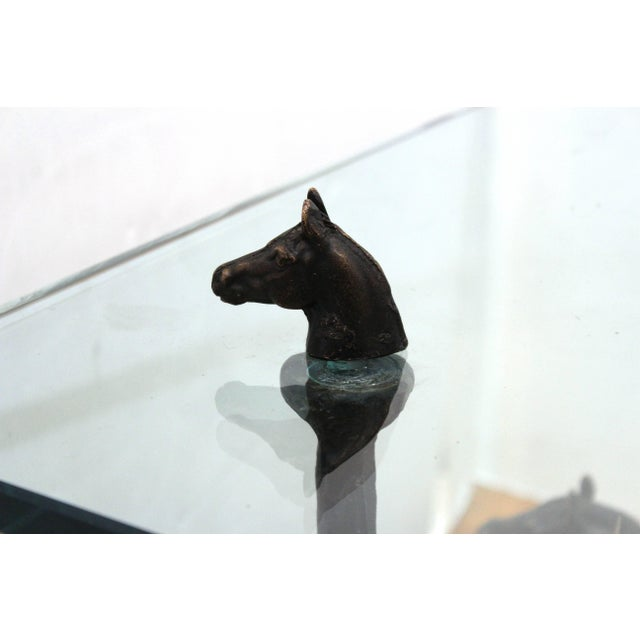 Chodoff Bronze Coffee Table in Giacometti Manner with Horse Heads and Glass Top For Sale - Image 4 of 13