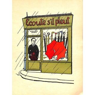 "Paris Storefront, French Lithograph, Ecoute S'il Pleut, Guilac 1925, Matted 11 X 14"" For Sale"