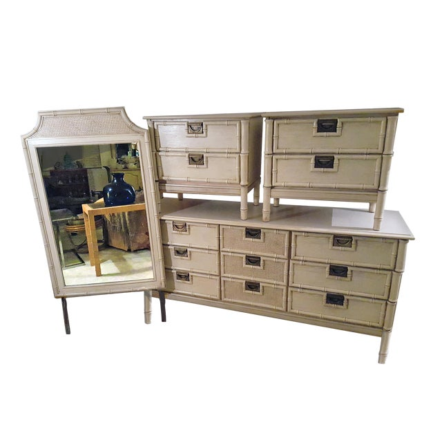 1960's Stanley Hollywood Regency Campaign Faux Bamboo Bedroom Set - Set of 4 For Sale