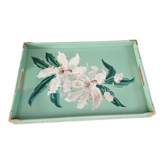 1930s Cottage Hand Painted Wood Tray For Sale