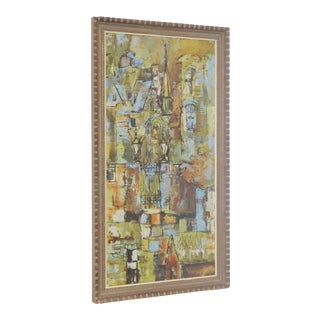 Mid Century San Francisco Abstract Cityscape Painting by John Gill For Sale