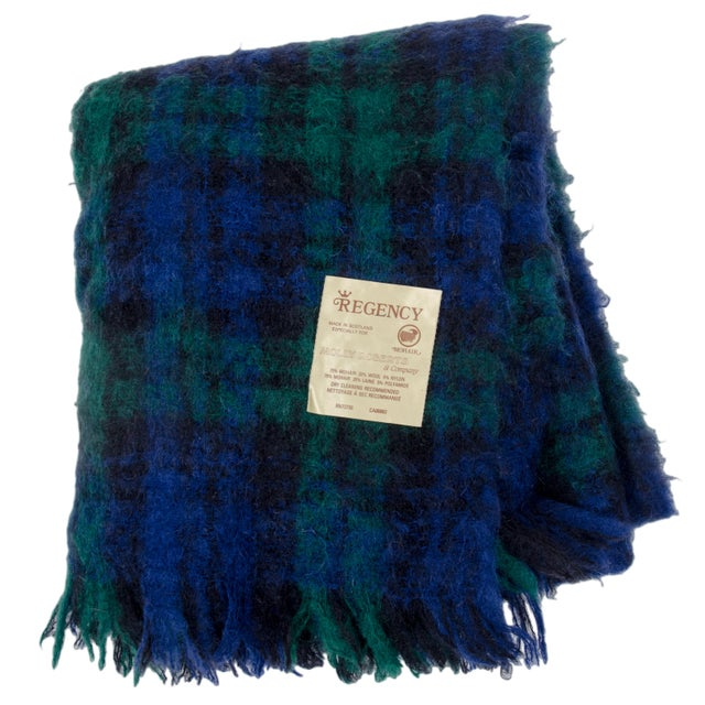 Regency for Molly Roberts Plaid Mohair Blanket For Sale - Image 5 of 5