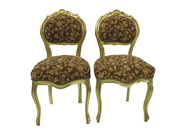 Merveilleux French Gilt Louis XVI Gold Upholstered Chairs   A Pair