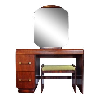 Vintage Art Deco Waterfall Vanity With Mirror and Stool For Sale