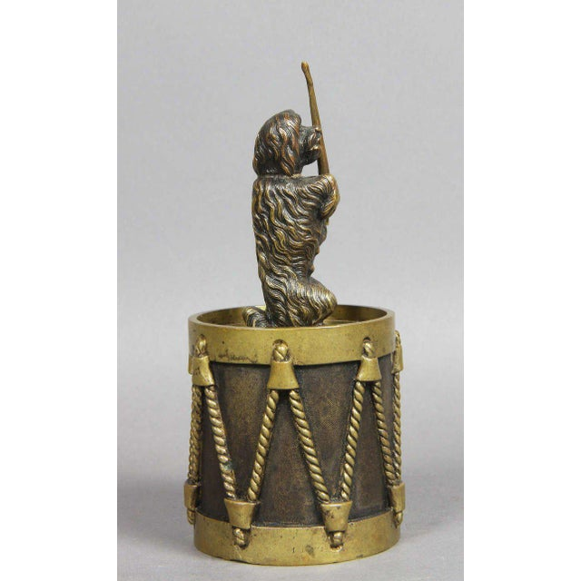 Traditional European Bronze Figure Of A Dog Seated On A Drum Dinner Bell For Sale - Image 3 of 7