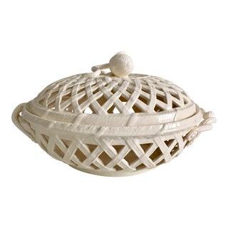 Vintage Leedsware English Creamware Basket & Lid For Sale