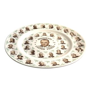 1964 Americana Presidents Plate Featuring LBJ in Center For Sale