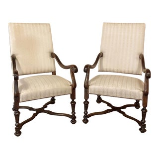 Pair 19th Century French Louis XIV Walnut Armchairs For Sale
