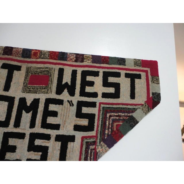 """Hand-Hooked Rug on Mounted Frame """"EAST WEST HOME'S BEST"""" - Image 4 of 7"""