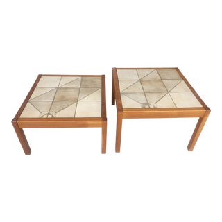 Large Danish Side Tables With Tiles Tops For Sale